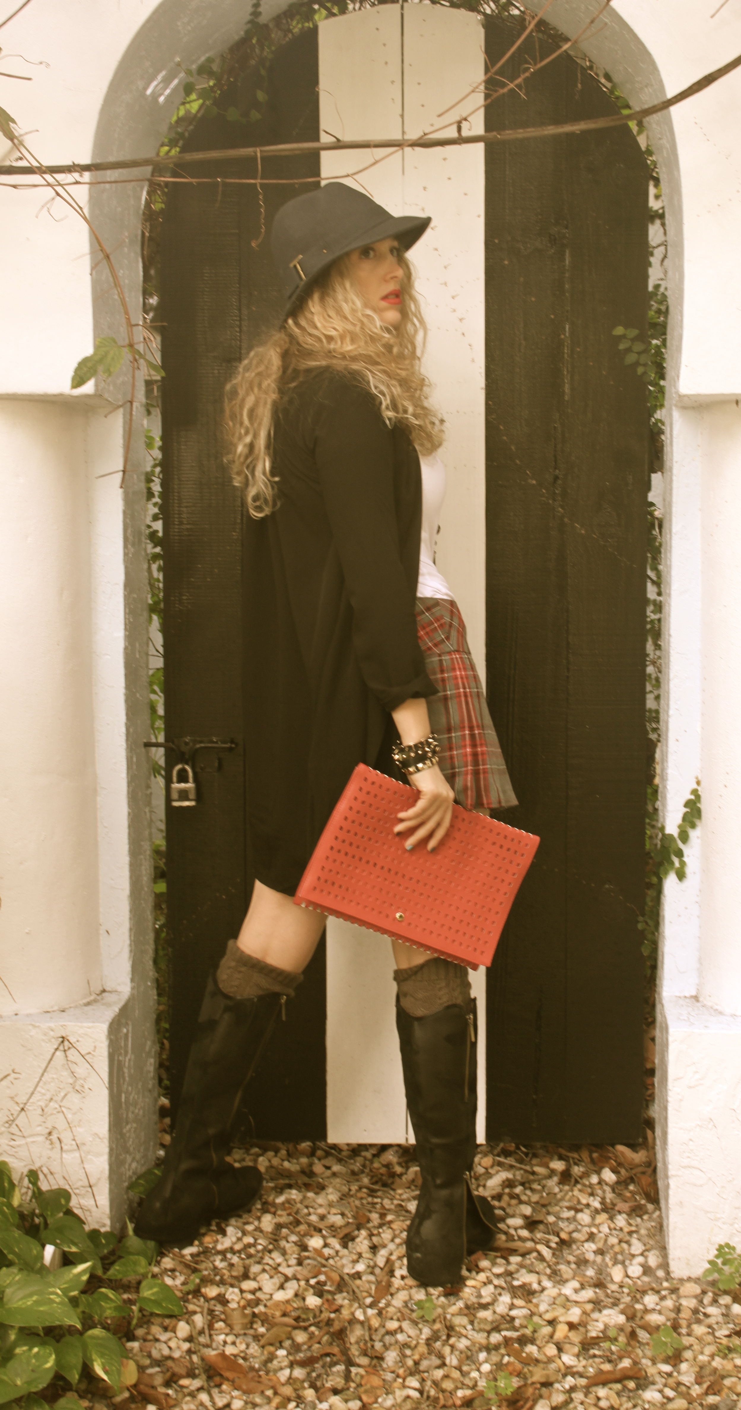 Plaid Skirt And Long Blazer The Mamanista